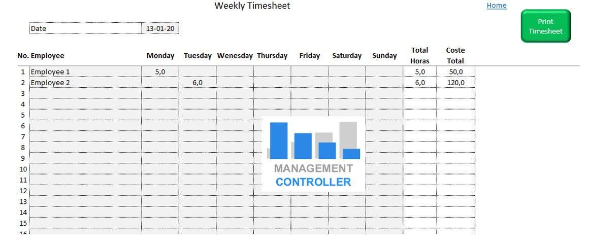 Working Hours Timesheet weekly