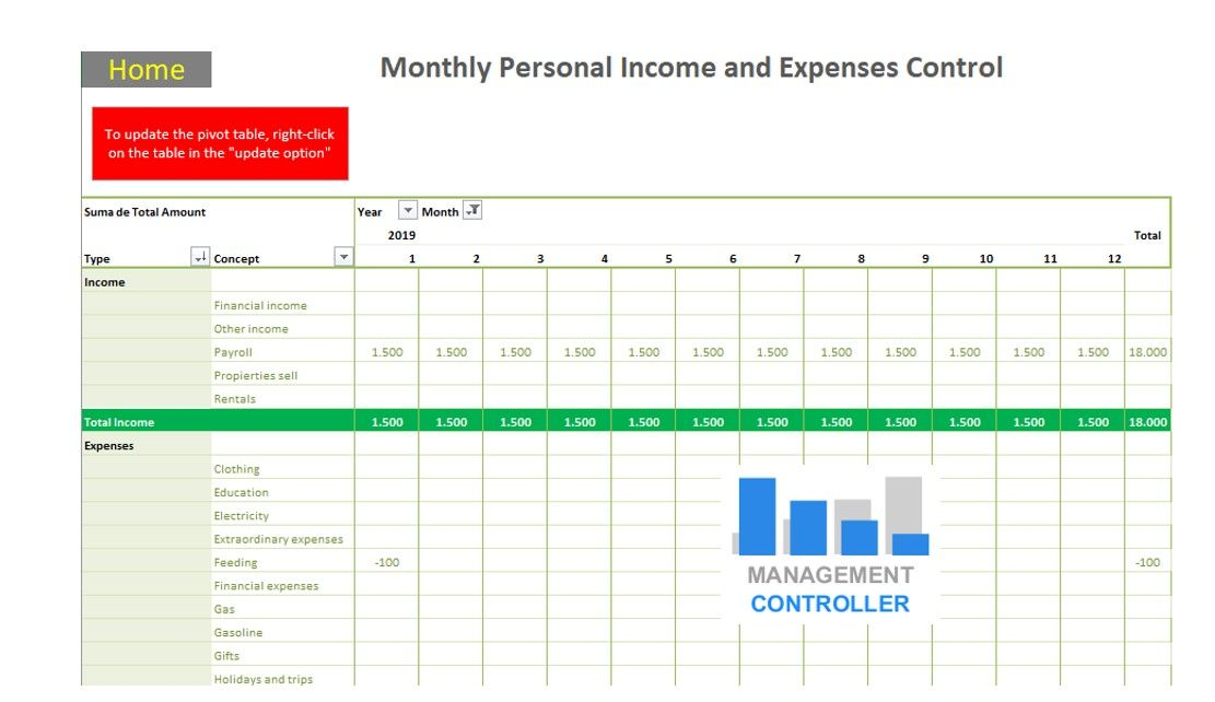 personal finance free excel template
