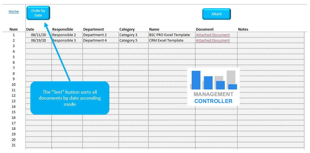 Documents Management Free Excel Template