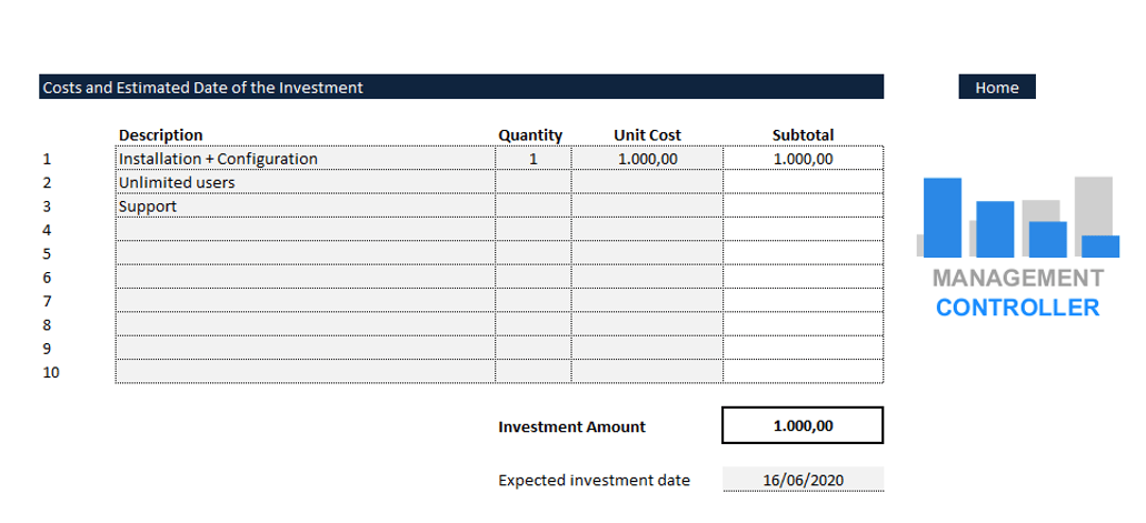 Cost new investments Free Excel spreadsheet