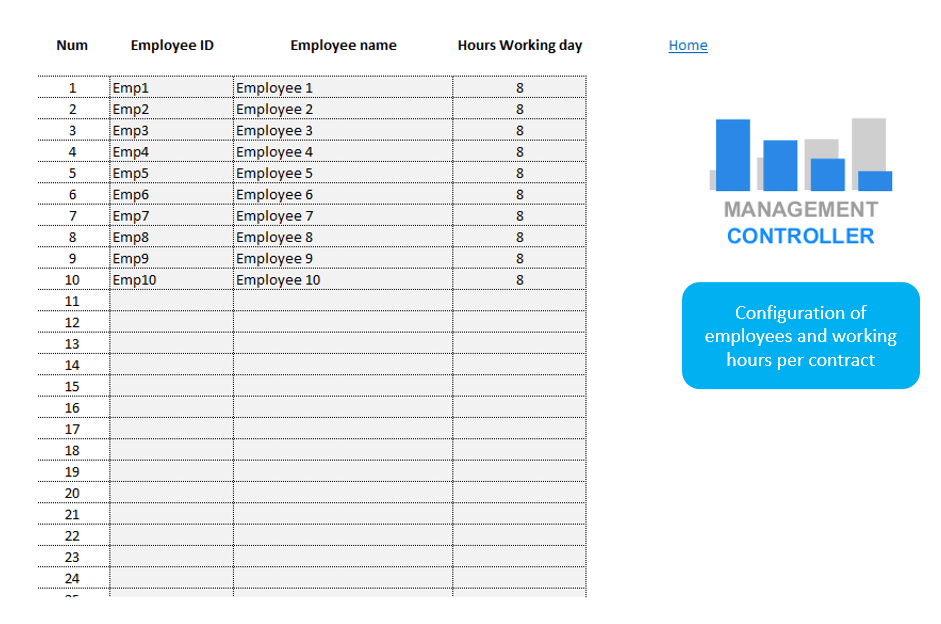 Timesheet Control and Resport Free Excel Template