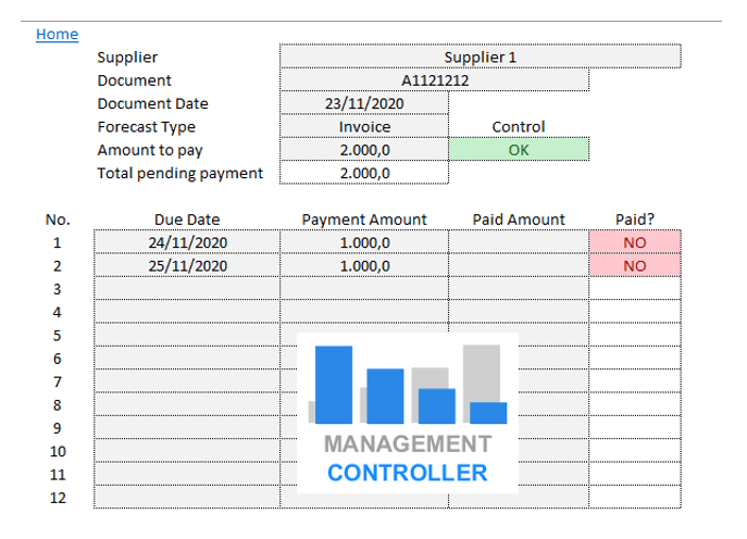 Payments Forecast Control FREE Excel Template