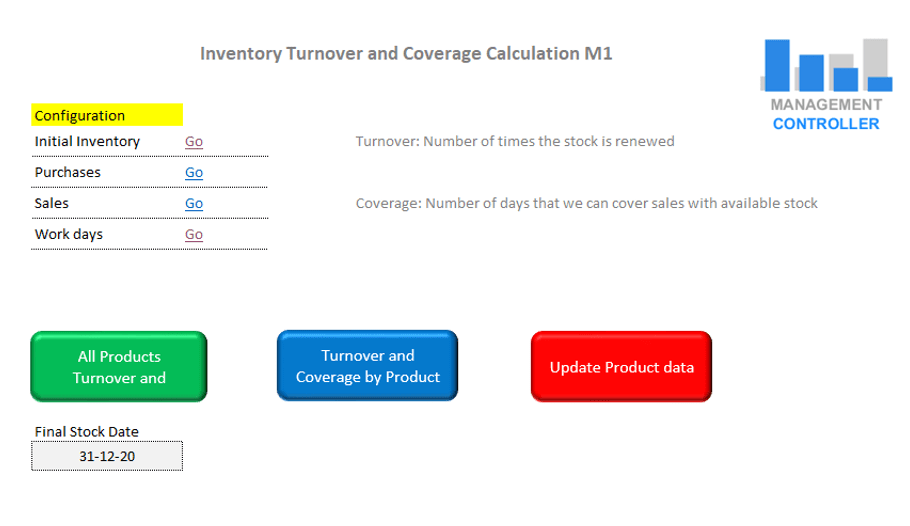 Inventory Turnover and Coverage Calculation Free Excel Template