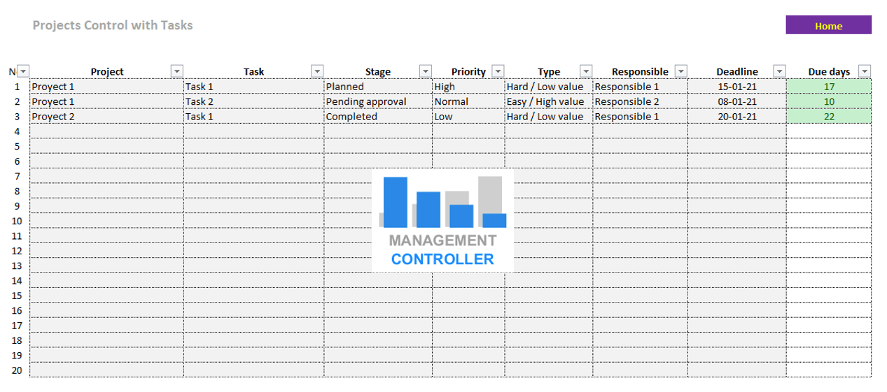 Projects control with tasks Free Excel Template
