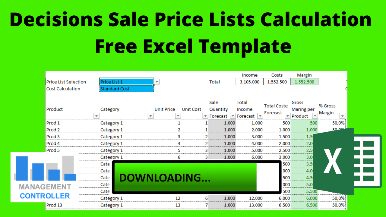 Decisions Sale Price Lists Calculation Free Excel Template