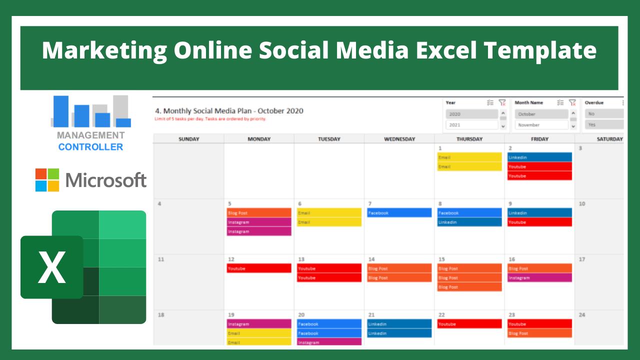 Marketing Online Social Media Excel Template