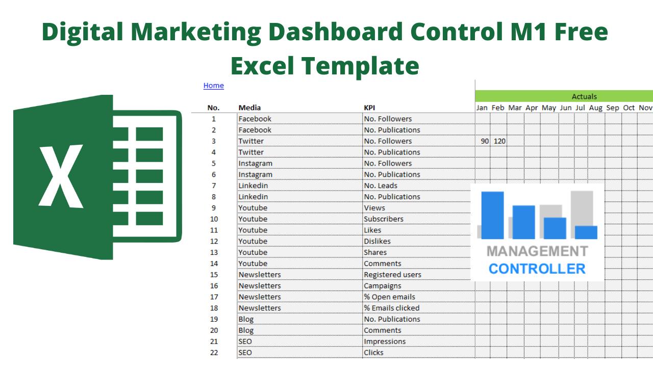 Digital Marketing Dashboard Control M1 Free Excel Template